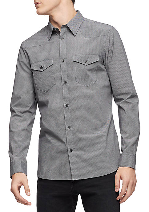 Calvin Klein Long Sleeve Printed Stretch Cotton Shirt