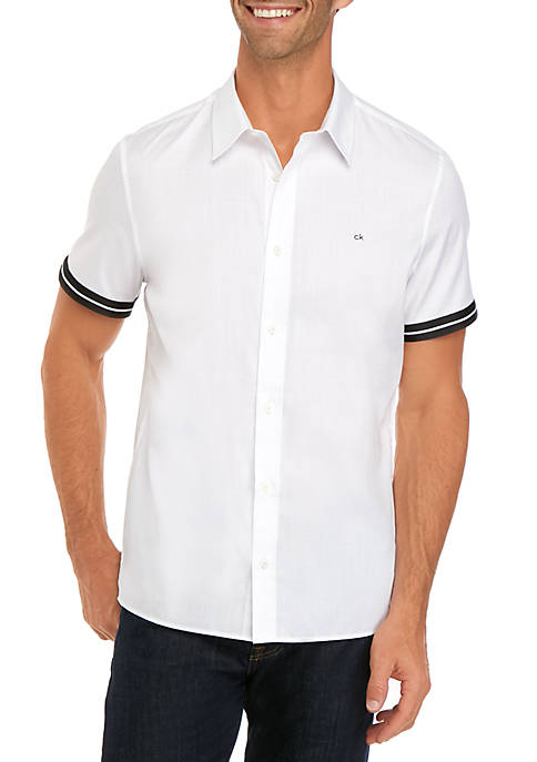 Calvin Klein Short Sleeve French Placket Herringbone Shirt