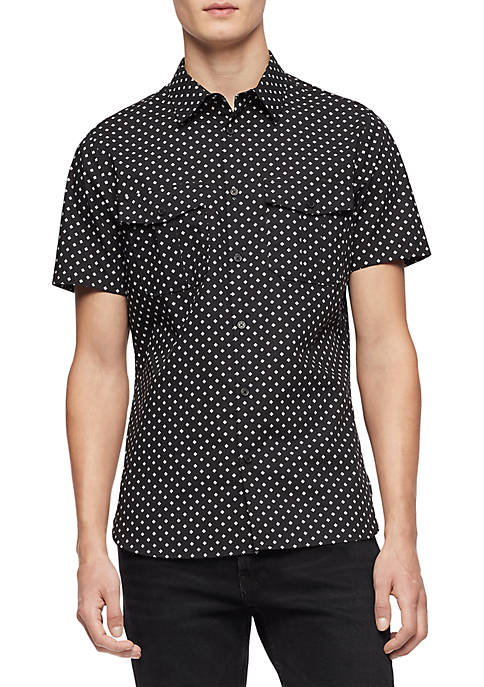 Calvin Klein Short Sleeve Military Pocket Printed Voile
