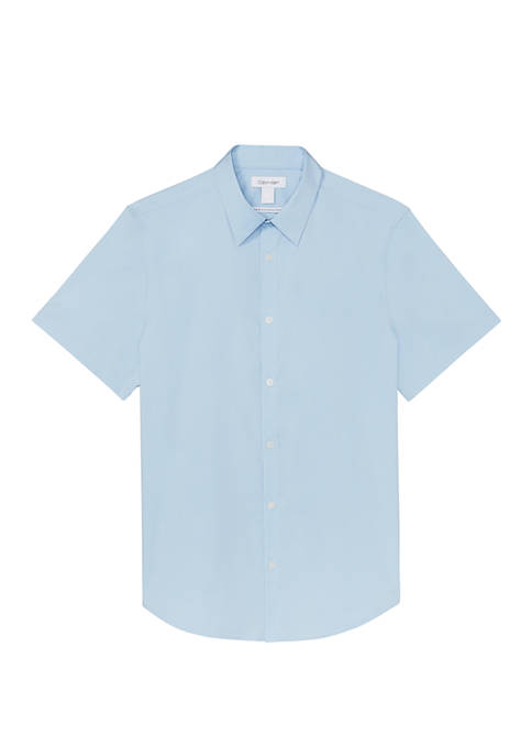 Short Sleeve French Placket Stretch Shirt