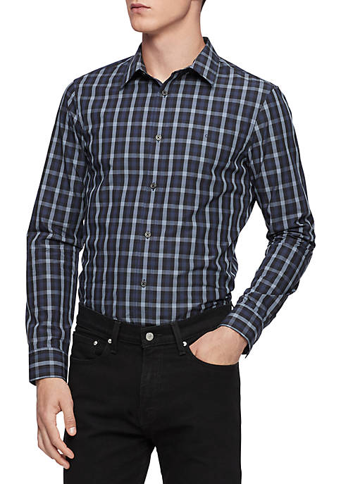 Calvin Klein Extra Fine Cotton Tattersall Plaid Shirt