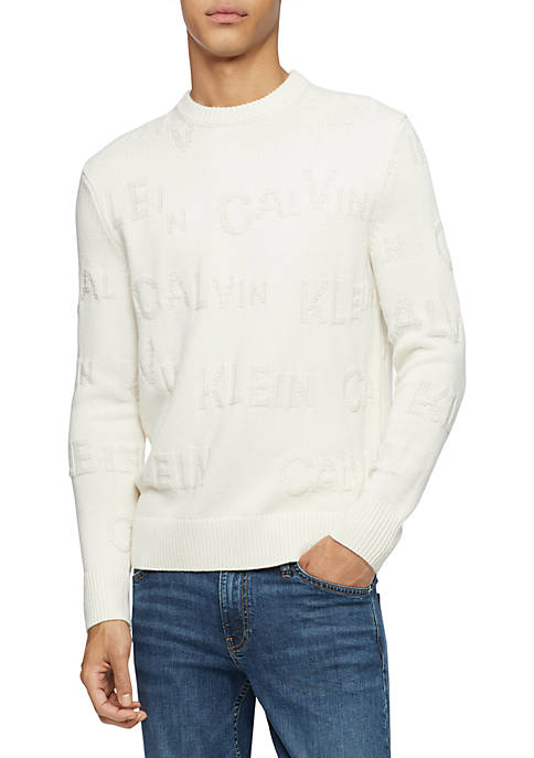 Calvin Klein Textured Logo Pattern Crew Neck Sweater