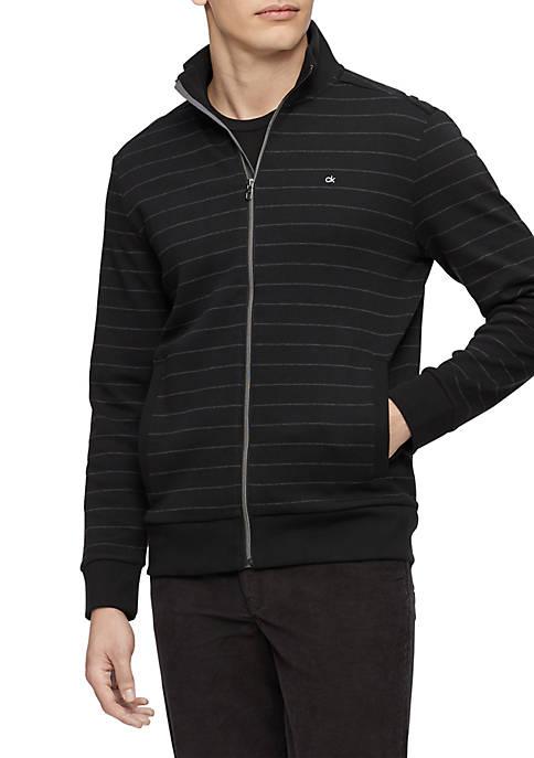 Calvin Klein Long Sleeve Yarn Dyed Stripe Mock