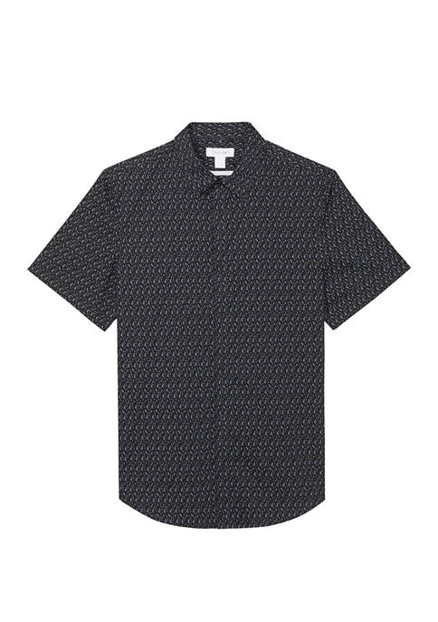 Mens Short Sleeve Printed Stretch Woven Shirt