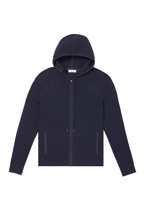 Calvin Klein Mens Textured Full Zipper Hoodie