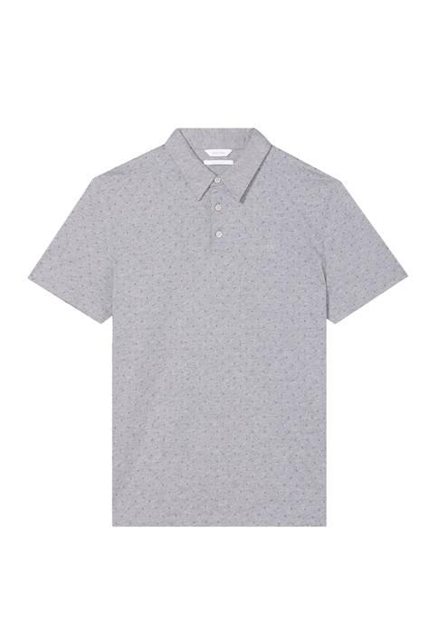 Mens Short Sleeve Allover Diamond Print Polo Shirt