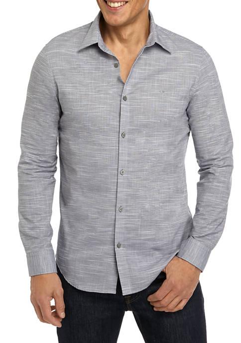 Calvin Klein Mens Long Sleeve Chambray Slub Shirt