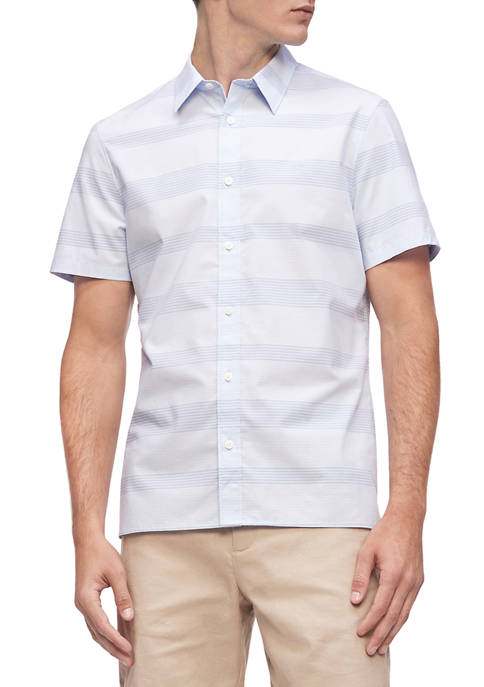Calvin Klein Mens Short Sleeve Cotton Stripe Shirt