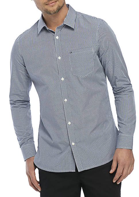 Calvin Klein Cotton Stretch Slim Fit Woven Gingham