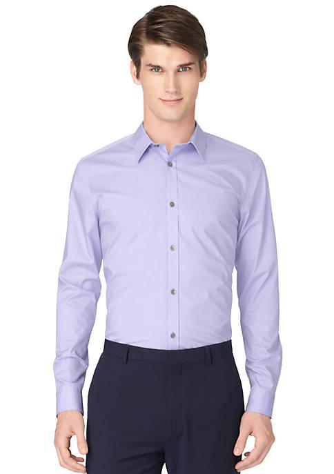 Non-Iron Striped Poplin Long Sleeve Shirt