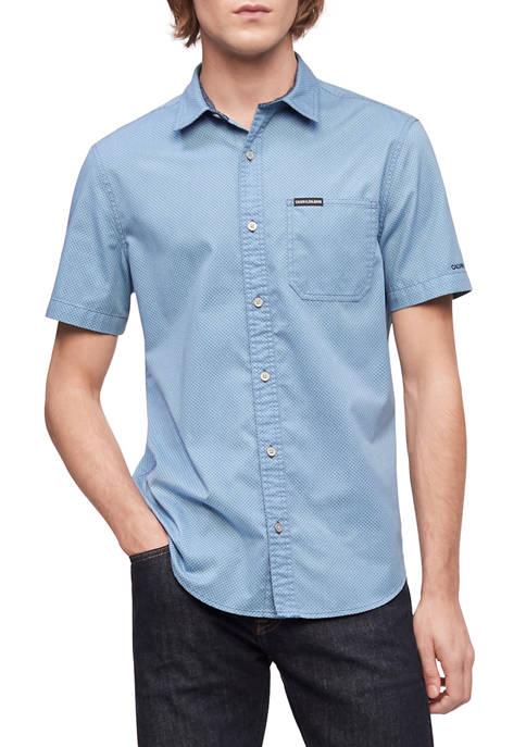 Calvin Klein Mens Short Sleeve Pocket Print Twill