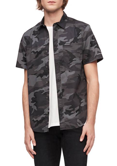 Calvin Klein Short Sleeve Camouflage Print Shirt