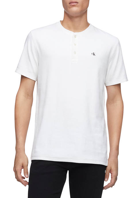Calvin Klein Short Sleeve Monogram Rib Henley Shirt
