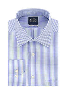 Long Sleeve Regular Fit Blue Check Dress Shirt
