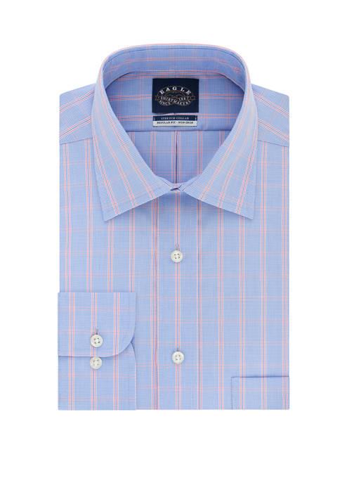 Non Iron Stretch Collar Regular Fit Check Print Dress Shirt