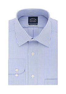 Big & Tall Long Sleeve Blue Check Dress Shirt