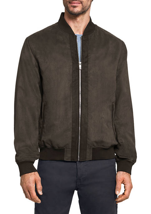 Mens Micro Suede Perforated Baseball Jacket
