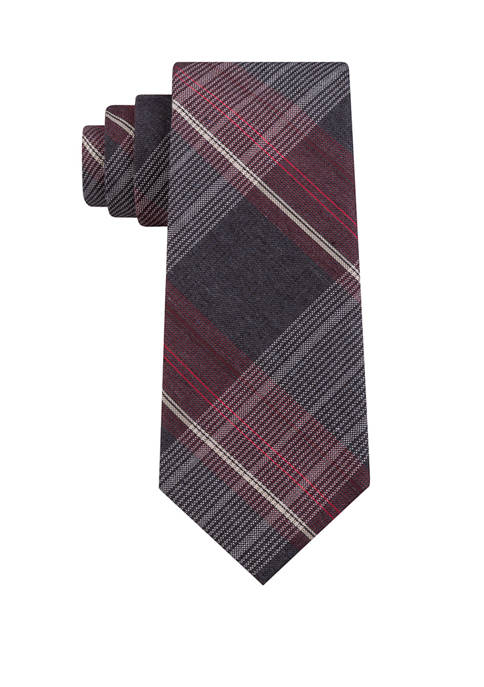 Madison Mens Heather Plaid Print Tie