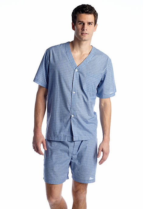 Plaid Short Sleeve and Short Pajama Set