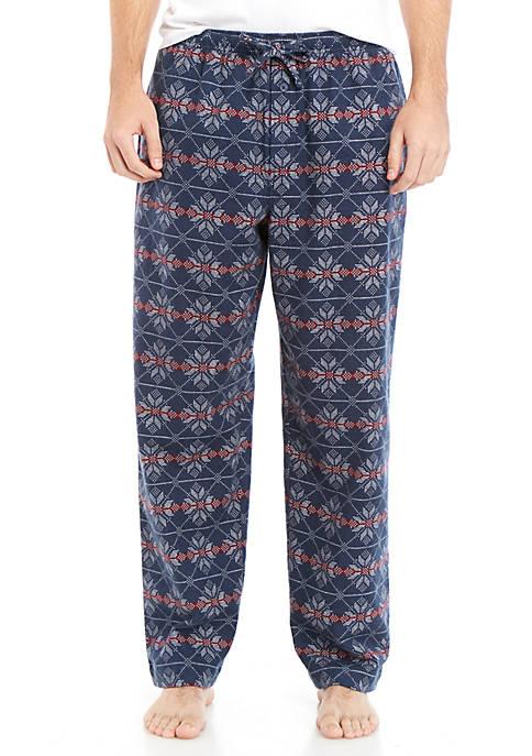 Blue Navy Snow Flakes Flannel Sleep Pants