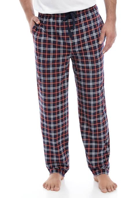 Mens Blue Red Plaid Knit Pajama Pants