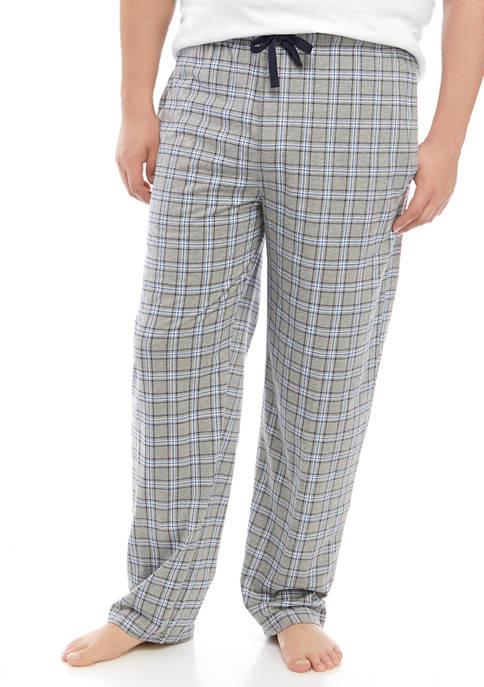 Big & Tall Gray Plaid Knit Pajama Pants