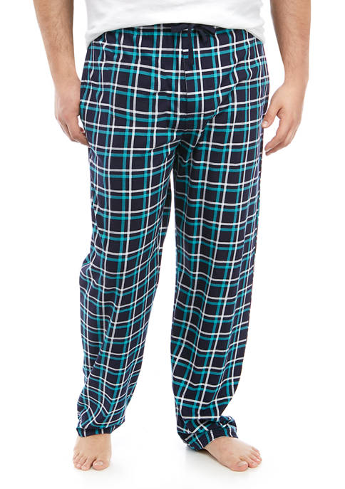 Big & Tall Turquoise and Navy Knit Lounge Pants