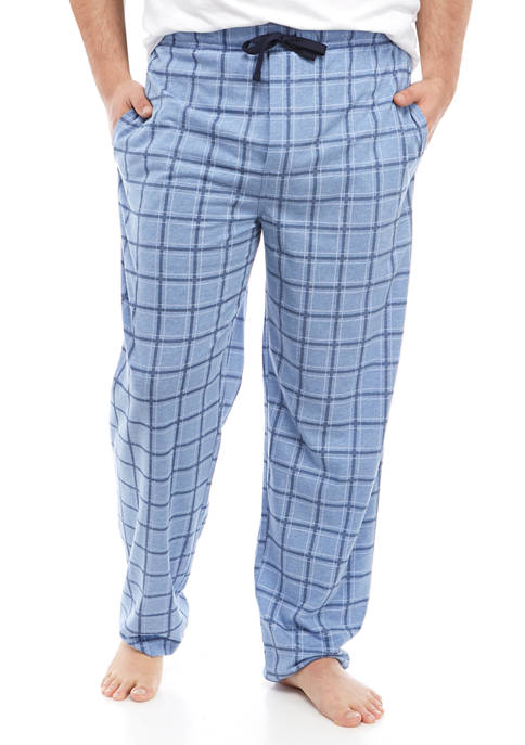 Big & Tall Blue Plaid Knit Lounge Pants