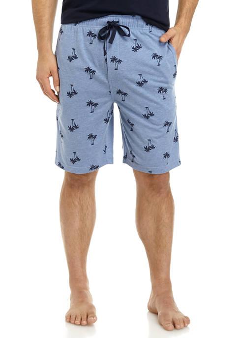 Mens Palm Tree Print Lounge Wear Shorts
