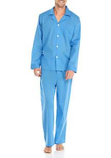 2-Piece Long Sleeve Solid Pajama Set