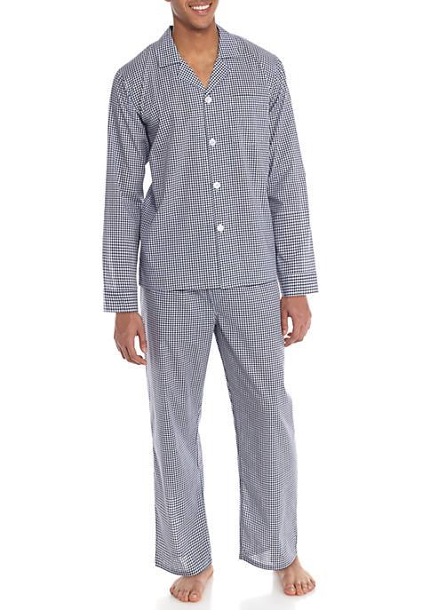 Saddlebred® Long Sleeve Gingham Plaid Pajama Set
