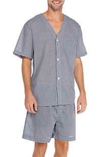 Saddlebred® Short Sleeve Gingham Pajama Set