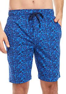 Saddlebred® Navy Leaf Print Pajama Shorts