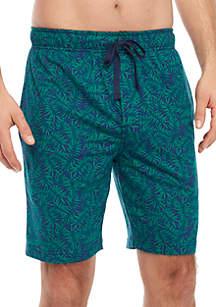 Saddlebred® Green Leaf Print Pajama Shorts