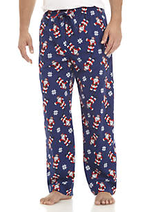 Santa Print Flannel Pants