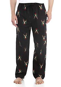 Big & Tall Flannel Deer Wreath Print Lounge Pants