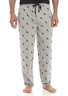 Christmas Deer Print Knit Pants