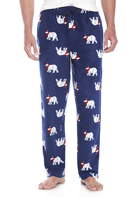 Saddlebred® Christmas Polar Bear Print Microfleece PJ Pants