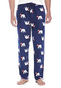 Christmas Polar Bear Print Microfleece PJ Pants