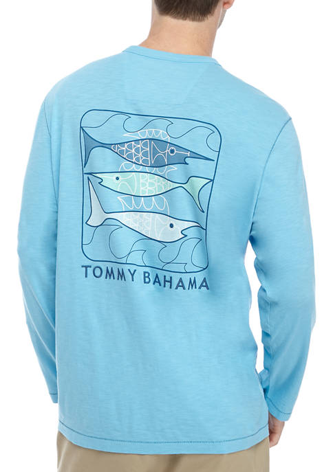Mens Blue Fish Bay Graphic T-Shirt