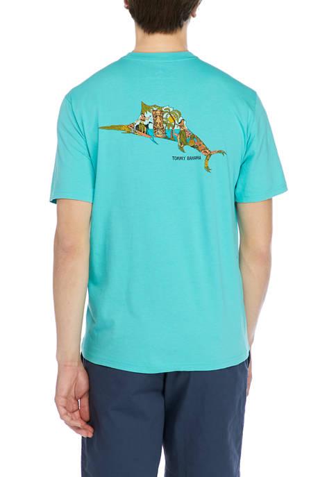 Mens Short Sleeve Marlin Graphic T-Shirt