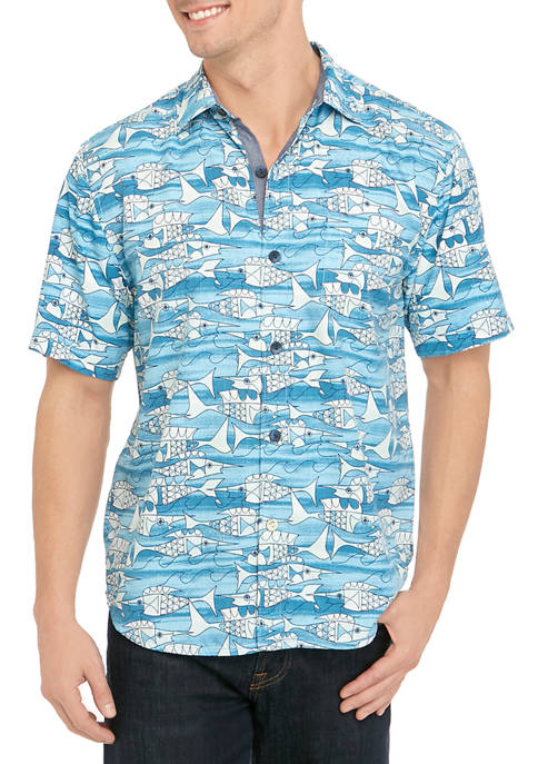 Tommy Bahama® Mens Blue Fish Bay Button Down