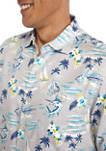Mens Short Sleeve Printed Button Down Shirt