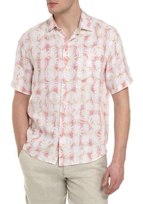 Mens Short Sleeve Plaid in Paradise Button Down Shirt