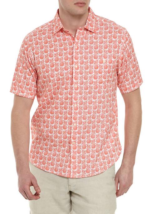 Mens Short Sleeve Apple Print Button Down Shirt