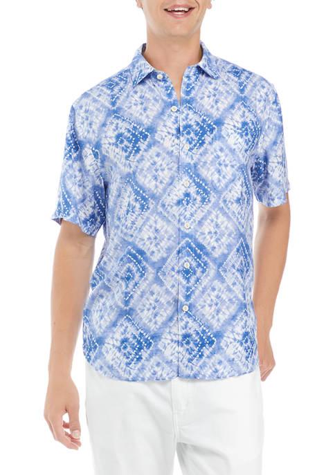Mens Shibori Diamond Camp Shirt