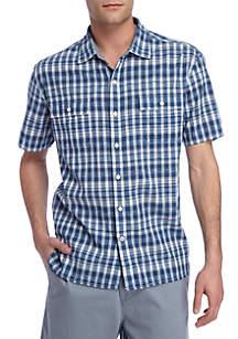 Short Sleeve The Ikats Meow Button Down Shirt