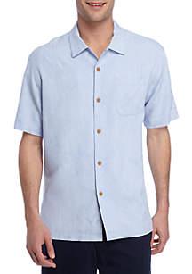 Short Sleeve Coastal Fronds Button Down Shirt