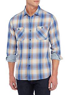 Short Sleeve Double Ombre Button Down Shirt