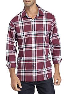 Long Sleeve Stretch Plaid Palma Button Down Shirt